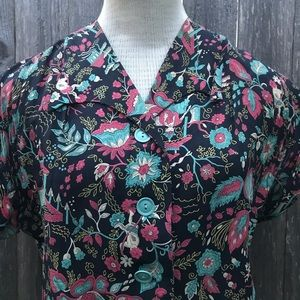 Late 40s/Early 50s Novelty Print Rayon Blouse